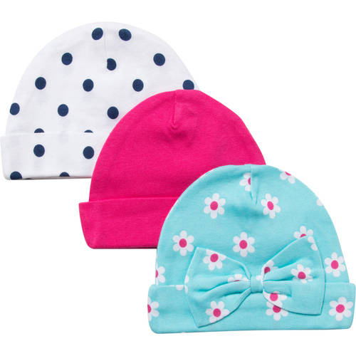 Gerber Newborn Baby Girl Flower Caps - 3 Pack