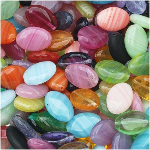 Czech Glass Oval Bead Mix in Assorted Colors & Sizes (1 Ounce)