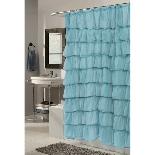 Carnation Home Fashions Carmen Ruffle Tier Fabric Shower Curtain