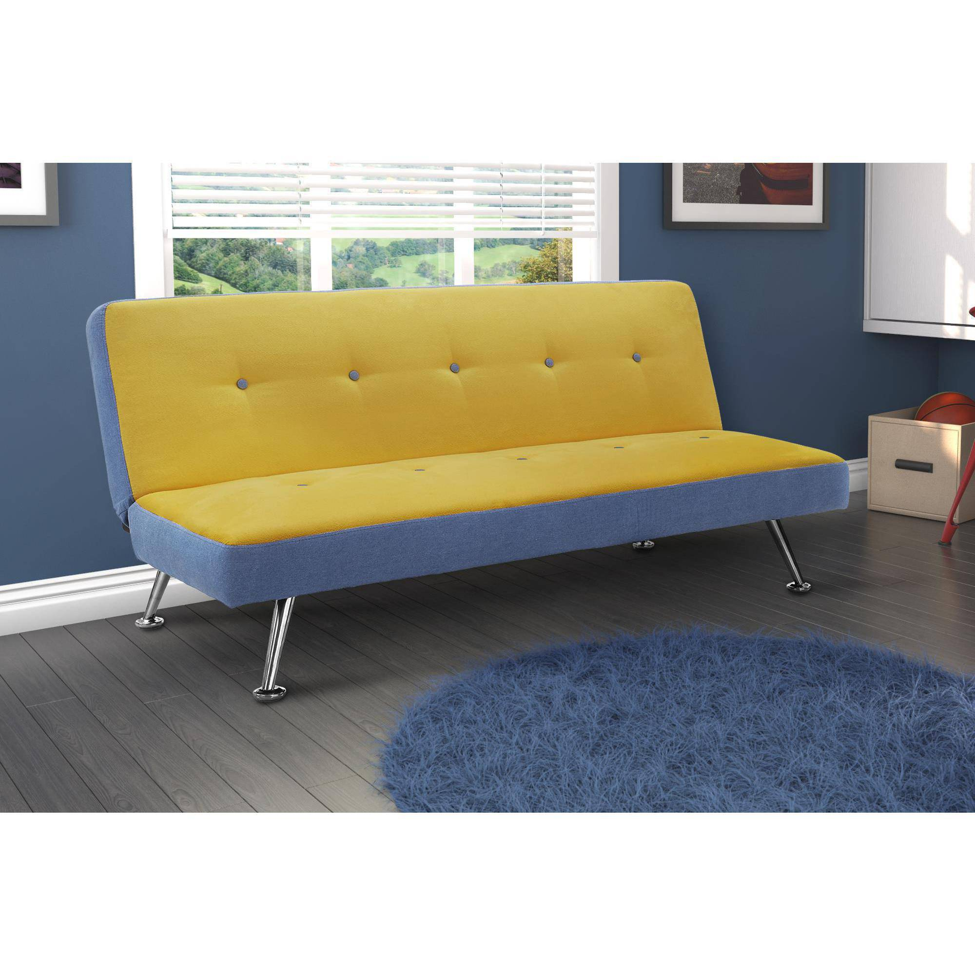 Dorel Home Products Junior Microfiber and Denim Futon, Minion Yellow