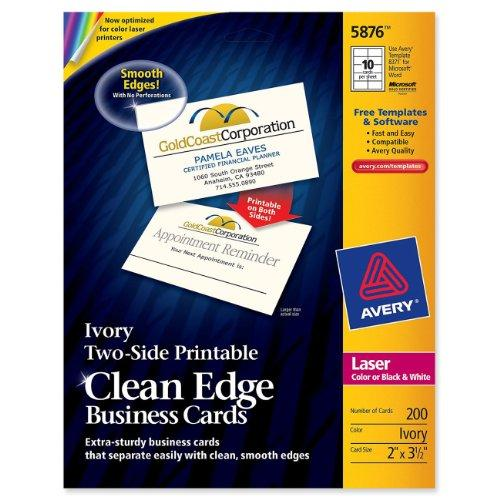 "Avery Clean Edge Business Card - For Laser Print - 3.50"" X 2"" - 200 / Pack - Ivory (5876)"