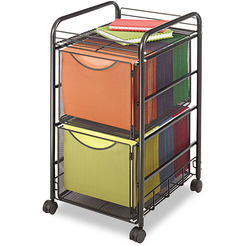 Safco Onyx Mesh Mobile 1-Shelf Double File, Black
