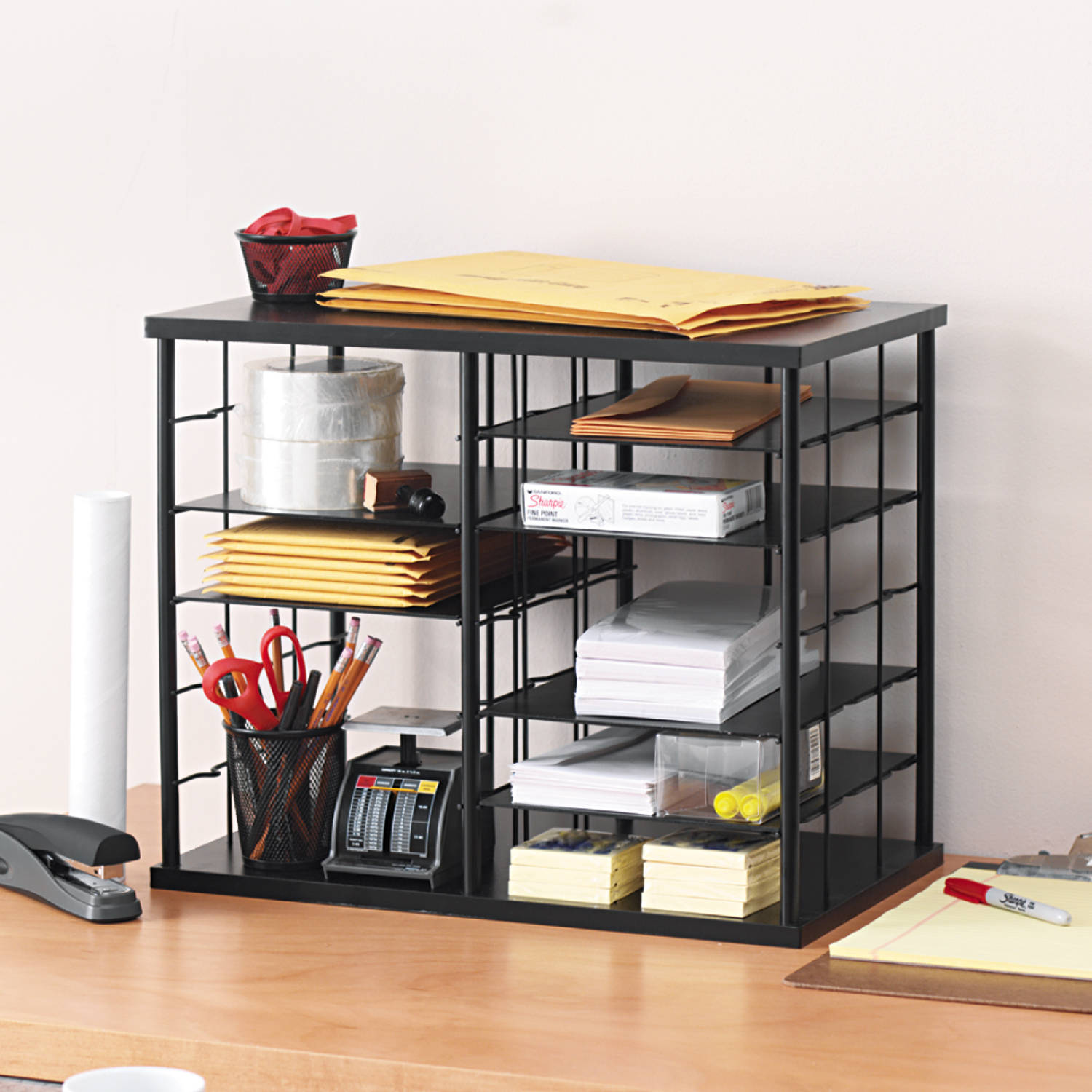 Rubbermaid 12 Slot Organizer, MDF, Desktop Sorter, Black