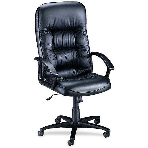 Lorell Tufted Leather Executive High-Back Chair, Black