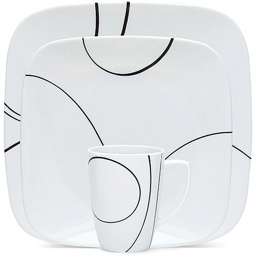 Corelle Squares Simple Lines 32-Piece Dinnerware Set, Service for 8
