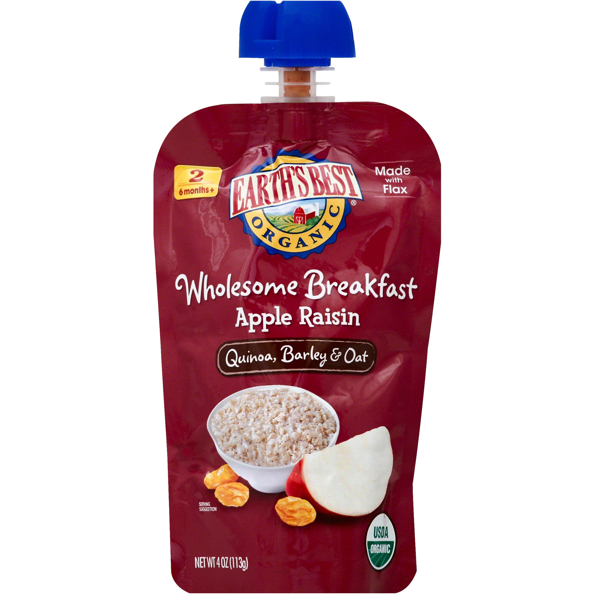 Earth's Best Organic Apple Raisin Wholesome Breakfast, 4 oz, (Pack of 6)