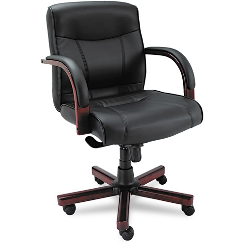Alera Madaris Mid-Back Swivel/Tilt Leather Chair w/Wood Trim, Black/Mahogany