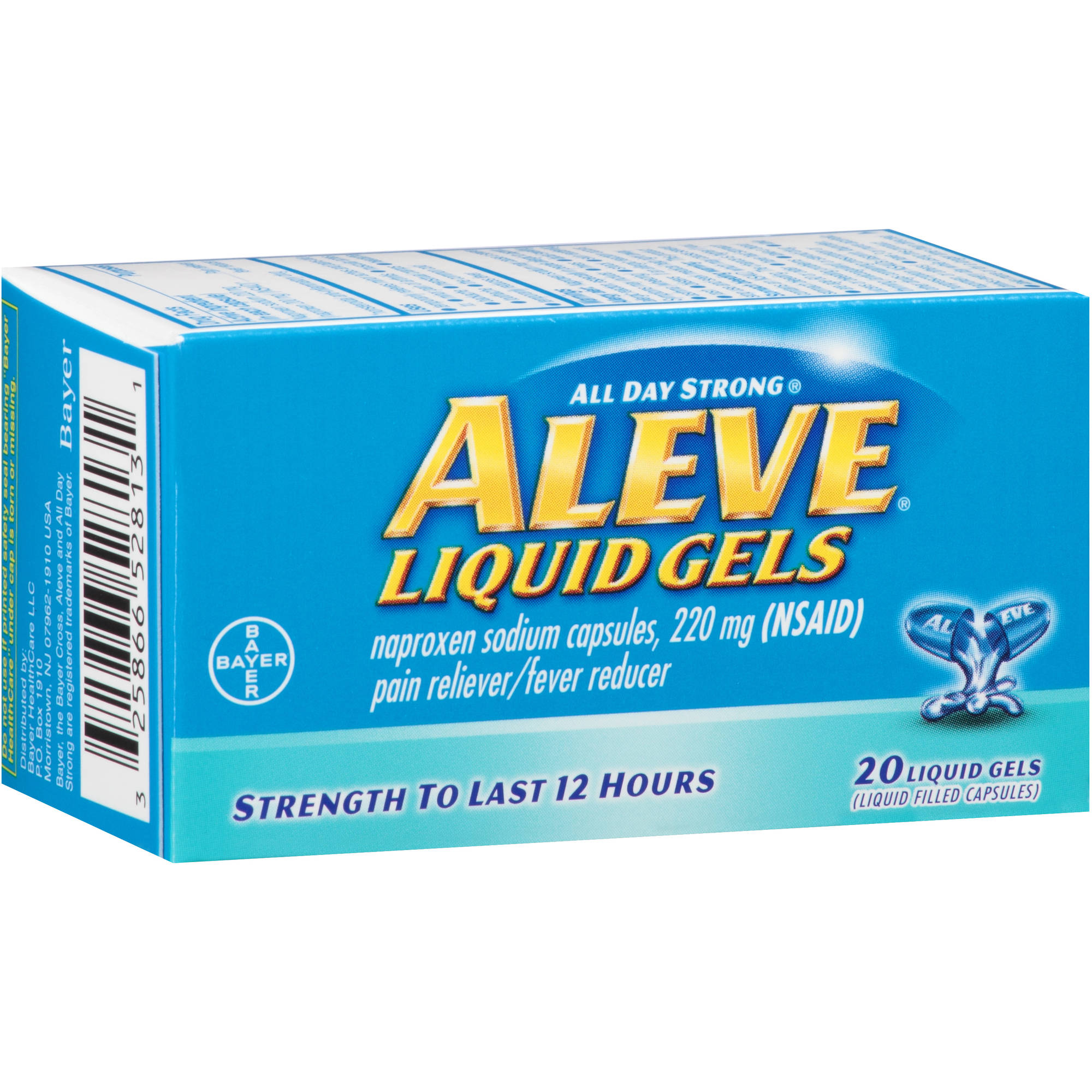 Aleve Pain Reliever/Fever Reducer Naproxen Sodium Liquid Gels, 220mg, 20 count
