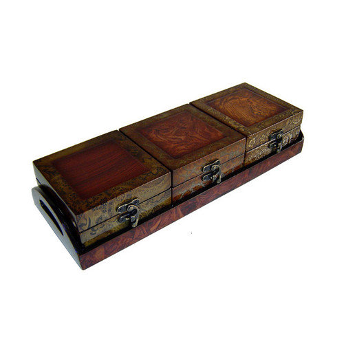 Cheungs 4 Piece Wooden Treasure Chest with Tray Set