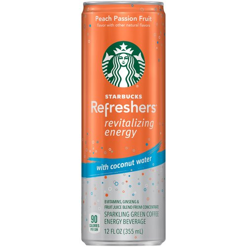 Starbucks Refreshers Peach Passion Fruit Sparkling Green Coffee Energy Beverage, 12 fl oz