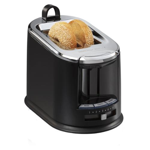 Hamilton Beach Extra-Wide 2-Slice Bagel Toaster with Toast Tongs, Black | 22323