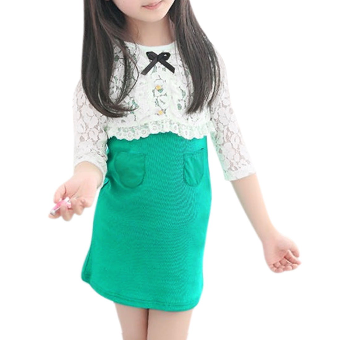 Girls Floral Design Lace Shrug w Tank Dress Sets Allegra Kids Green 5