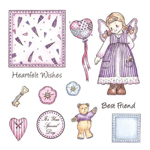 "Patchwork Polly Unmounted Rubber Stamp Set 6""X6"" Sheet-Olivia"