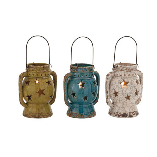Woodland Imports The Exquisite Ceramic Lantern (Set of 3)