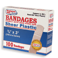 Sheer Plastic Bandages Sterile With Non Stick Pad -  3/4 Inch X 3 Inches - 100  Ea