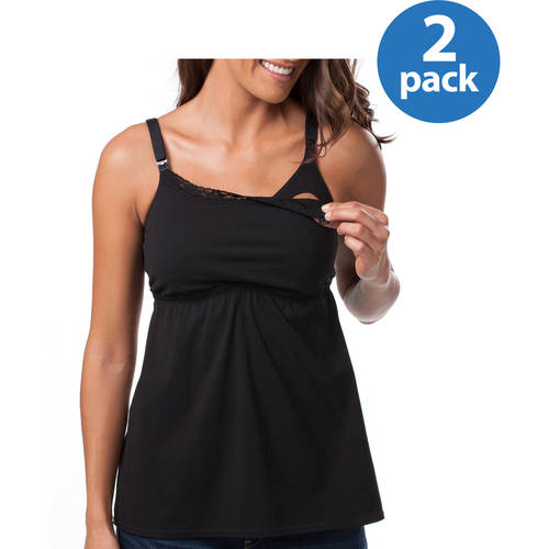 Loving Moments by Leading Lady Maternity Babydoll Nursing Tank with Lace Trim and Full Sling, 2-Pack