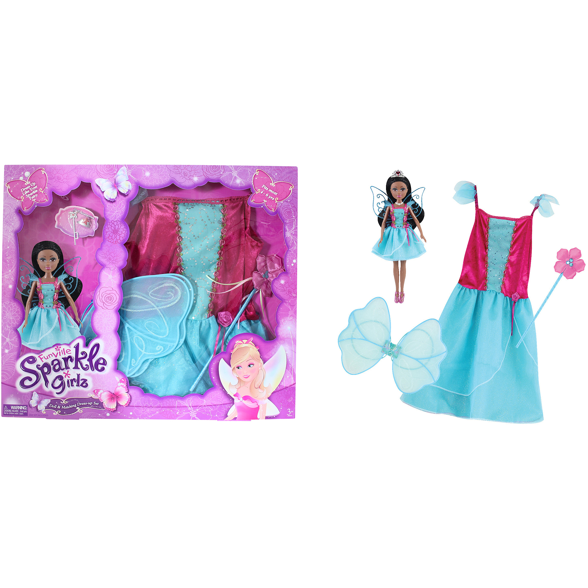 Funville Sparkle Girlz Doll with Dress Up, African American, Fairy