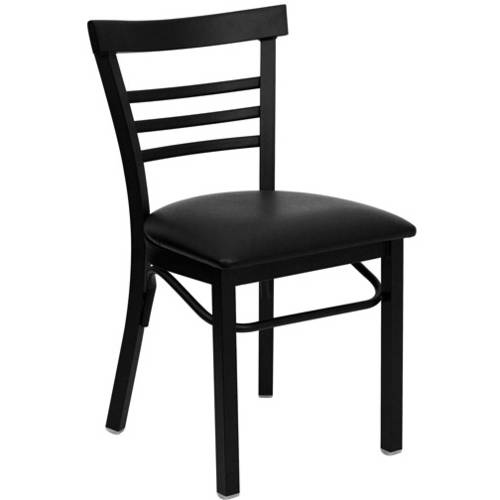 Ladder Back Chairs - Set of 2, Black Metal / Black Vinyl Seat