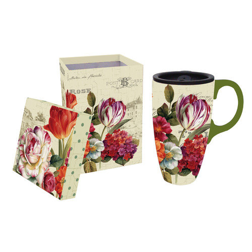 Cypress Home Garden View 17oz. Ceramic Latte Travel Cup with Gift Box