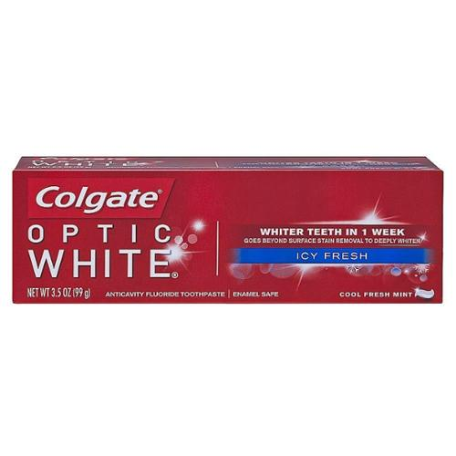 Colgate Optic White Icy Fresh Anticavity Fluoride Toothpaste, Cool Fresh Mint 3.50 oz (Pack of 2)