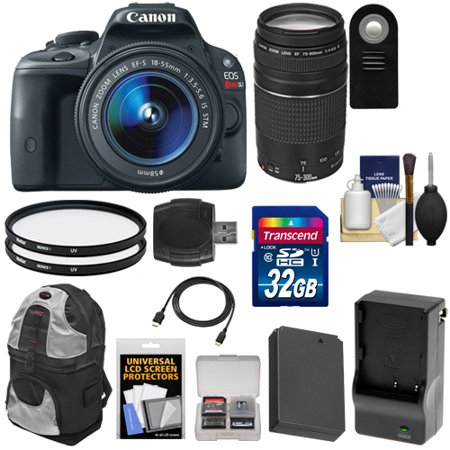 Canon EOS Rebel SL1 Digital SLR Camera & EF-S 18-55mm IS STM Lens with EF 75-300mm III Lens + 32GB Card + Battery + Backpack + Filters + Accessory Kit