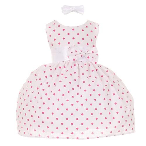 Baby Girls Fuchsia Polka Dot Headband Special Occasion Dress 3-24M