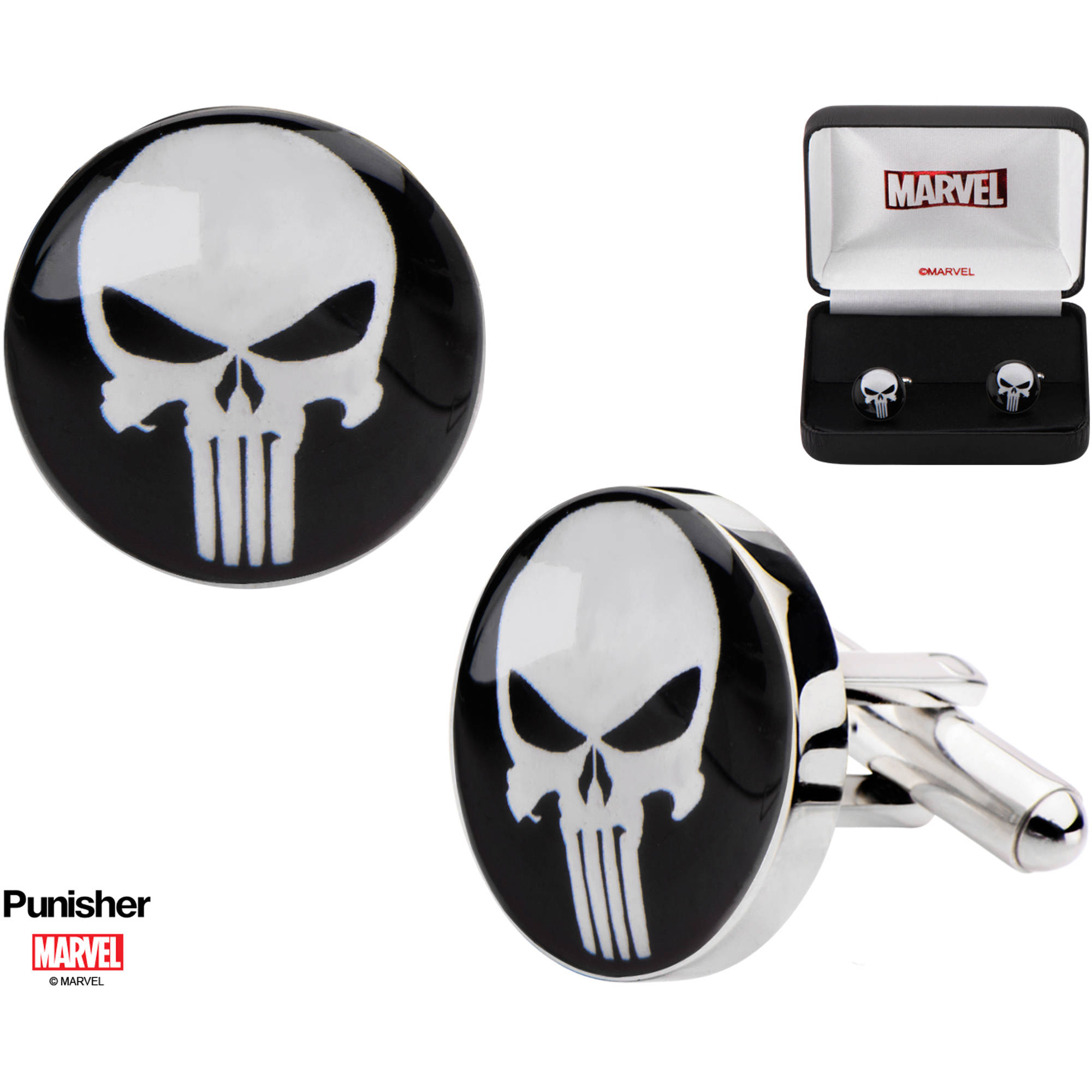 Marvel Men's Stainless Steel Punisher Face Cufflinks