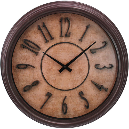"Kiera Grace Brown Wood Grain 18"" Wall Clock with Raised Numbers and Distressed Face"