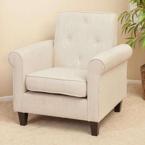 Isaac Tufted Beige Fabric Club Chair