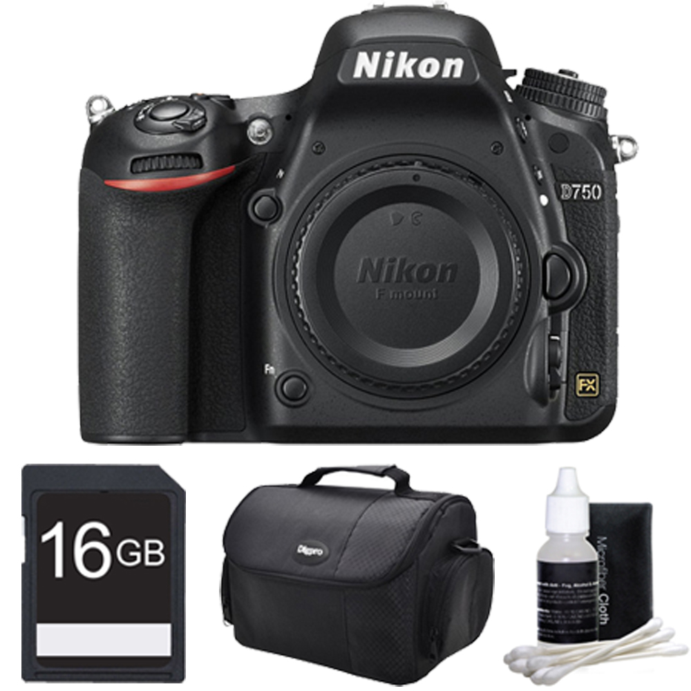 Nikon D750 DSLR 24.3MP HD 1080p FX-Format Digital Camera 16 GB Bundle. Bundle Includes 16GB Secure Digital SD Memory Card, Compact Deluxe Gadget Bag, and 3pc. Lens Cleaning Kit.