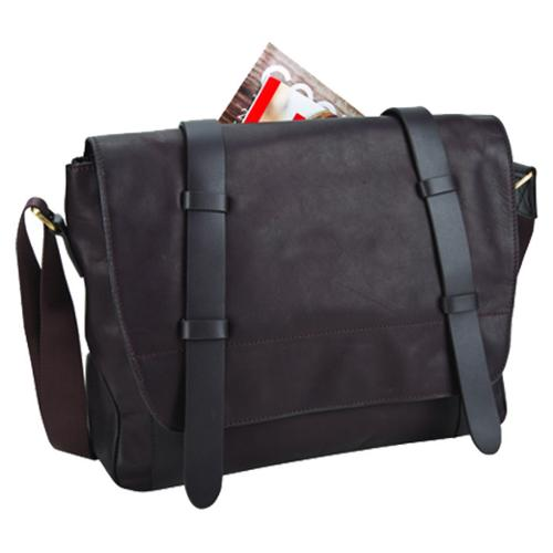 Bellino Brown Leather 15-inch Laptop Messenger Bag