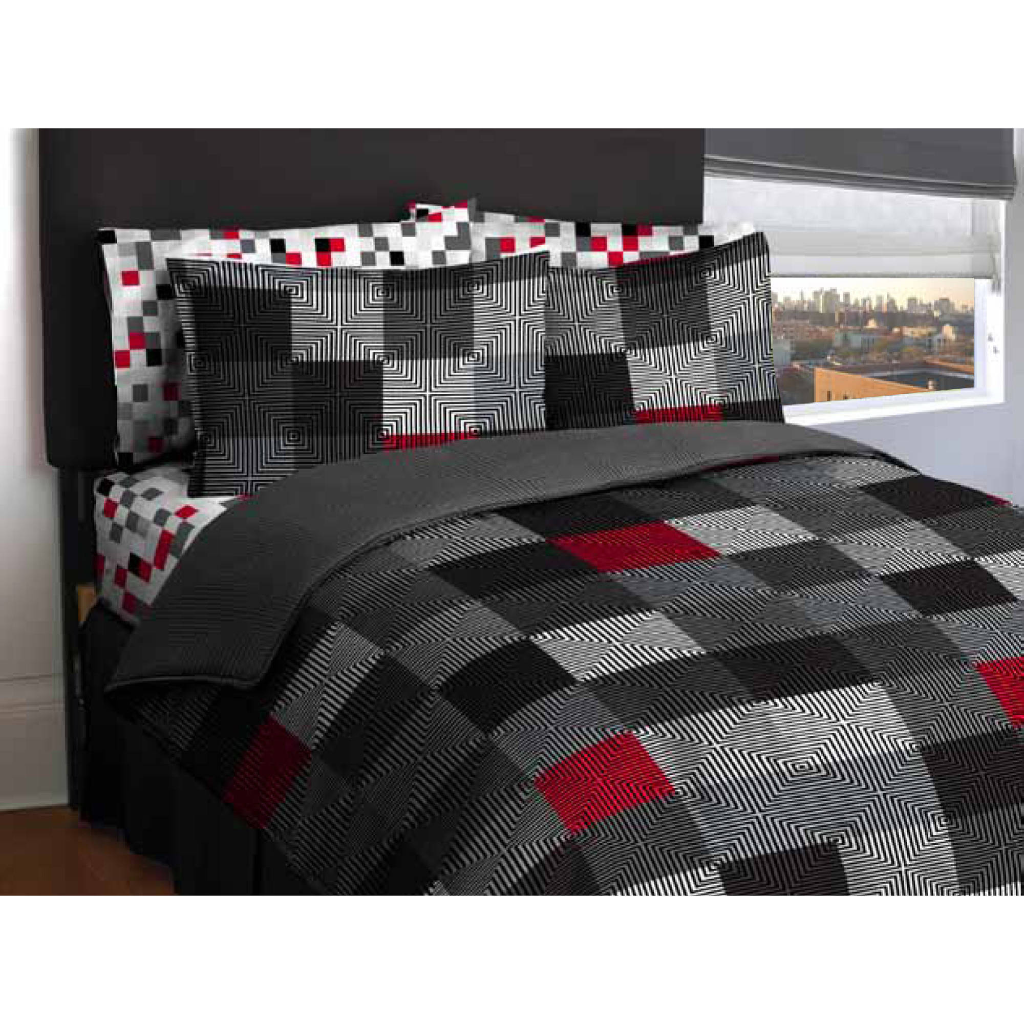 American Original Geo Blocks Bed in a Bag Bedding Comforter Set
