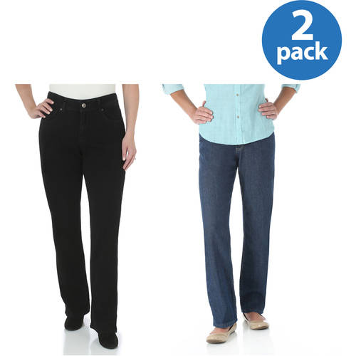 The Riders By Lee Women's Core Relaxed Fit Straight Leg Jeans Available in Regular, Petite, and Long Lengths 2pk Value Bundle