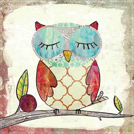Sleepy Owl Texture Pattern Newsprint Distressed Juvenile Trendy Modern Contemporary Painting Pink & Blue Canvas Art by Pied Piper Creative