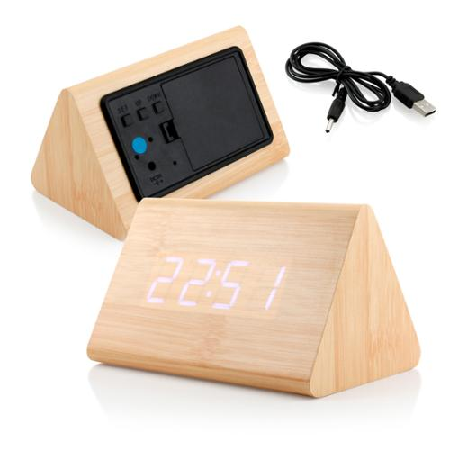 Modern Triangle Wood LED Wooden Alarm Digital Desk Clock Thermometer Classical Timer Calendar  - Bamboo (White Light)