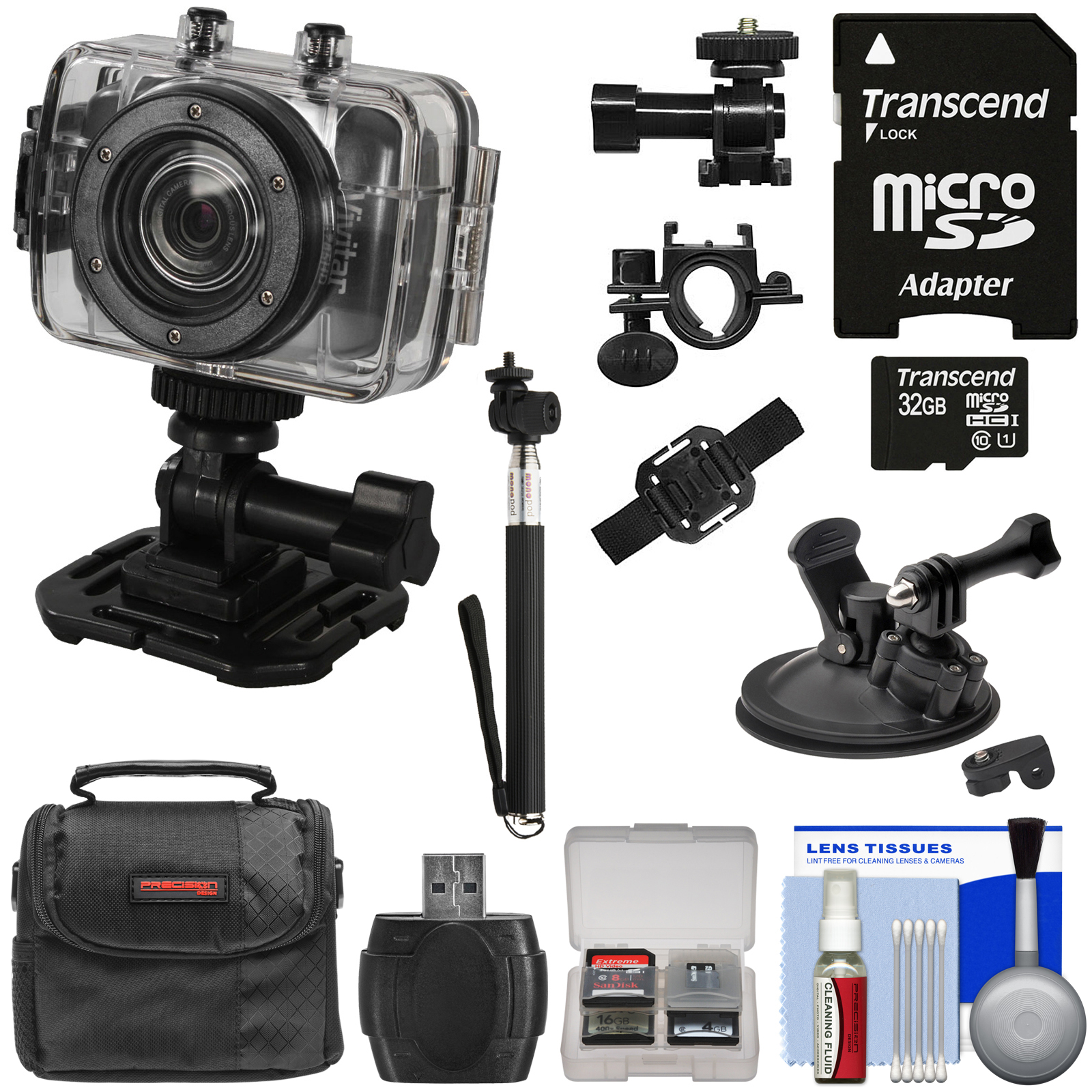 Vivitar DVR785HD Waterproof Action Video Camera Camcorder (Black) with Helmet\/Bike\/Car Mounts + 32GB Card + Case + Selfie Stick Kit