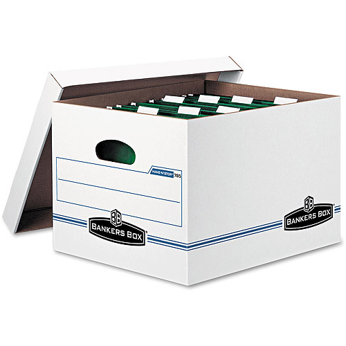 Bankers Box Hang 'N' Stor Storage Box, Lift-off Lid, White/Blue, 4/Carton