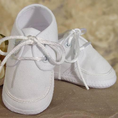 Baby Boys White Gabardine Oxford Christening Shoes 1