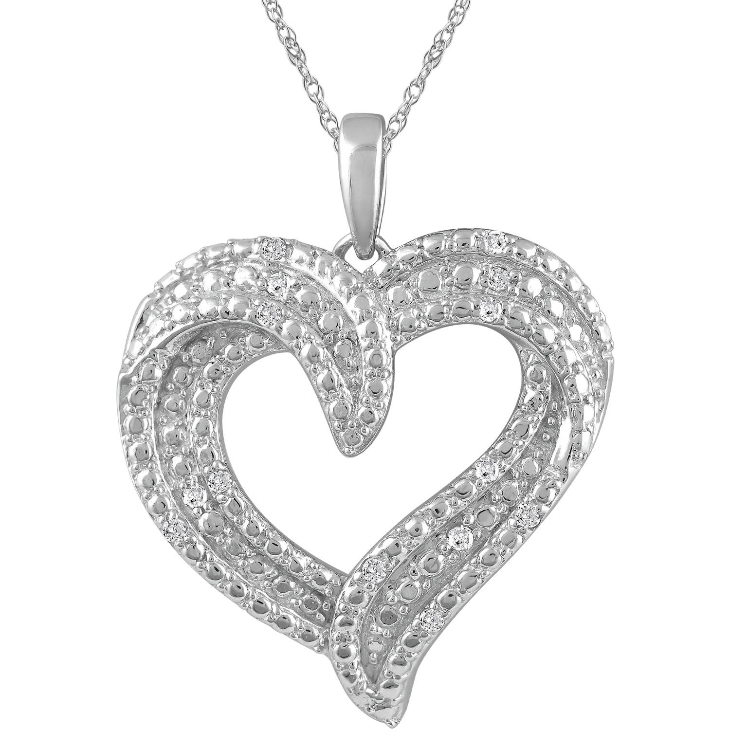 1/10 Carat T.W. Diamond Sterling Silver Heart Pendant with Chain