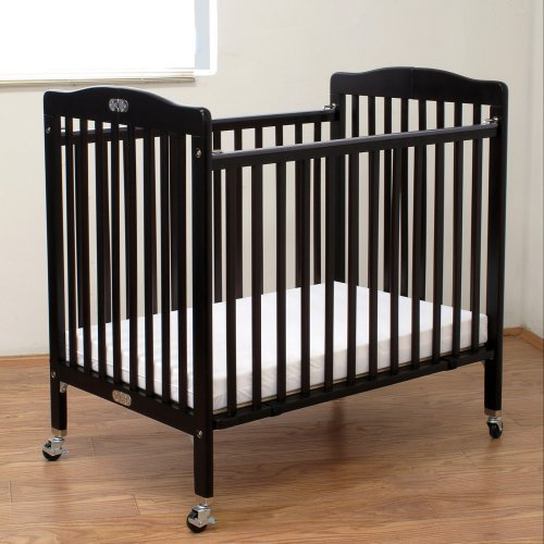 LA Baby Compact Wood Folding Crib with 3 in. Mattress - Cherry