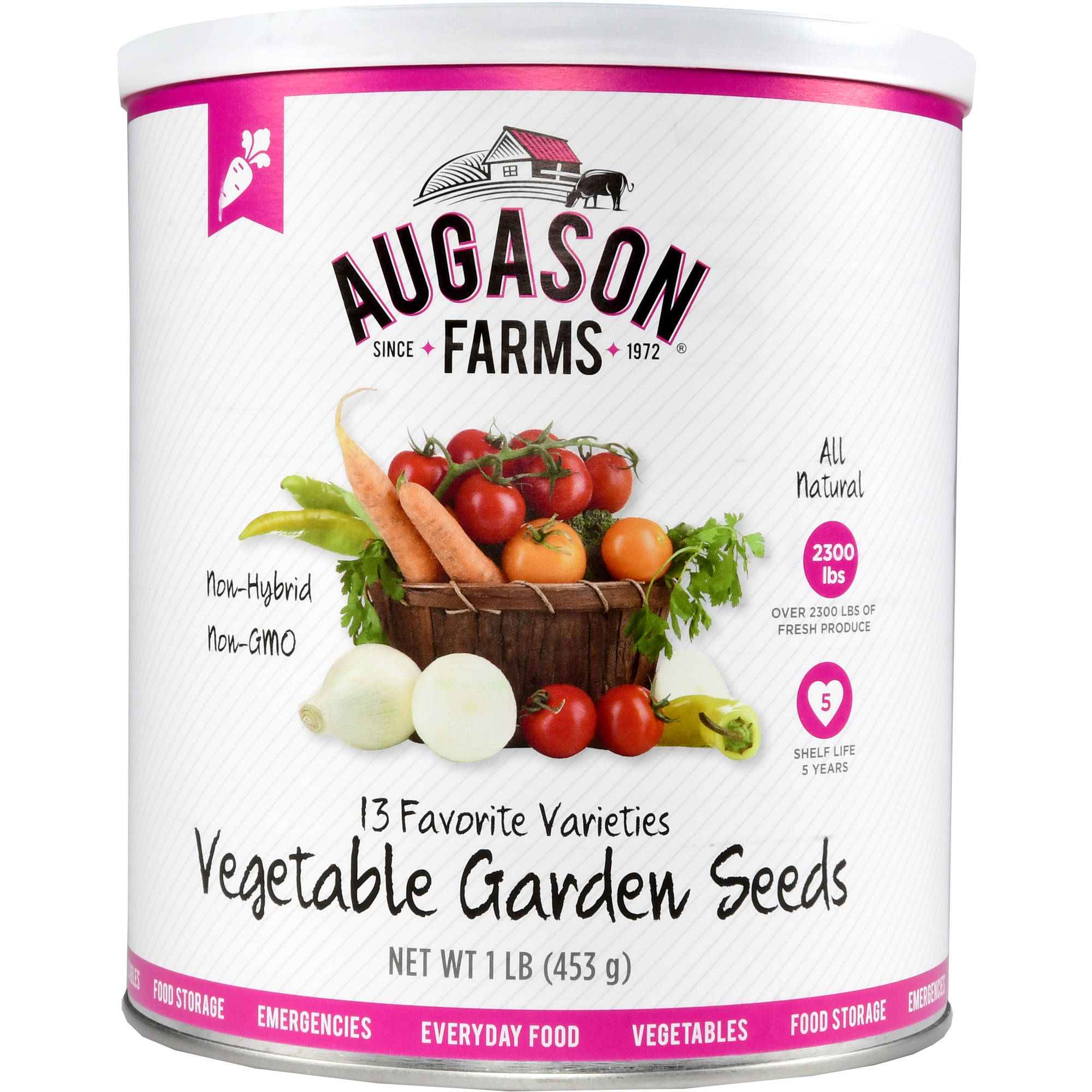 Augason Farms Emergency Food Non-Hybrid Vegetables Garden Seeds, 16 oz