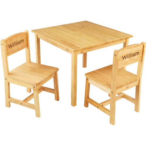 KidKraft - Personalized Aspen Natural Table and Chair Set, Blue Marker Font Boy's Name