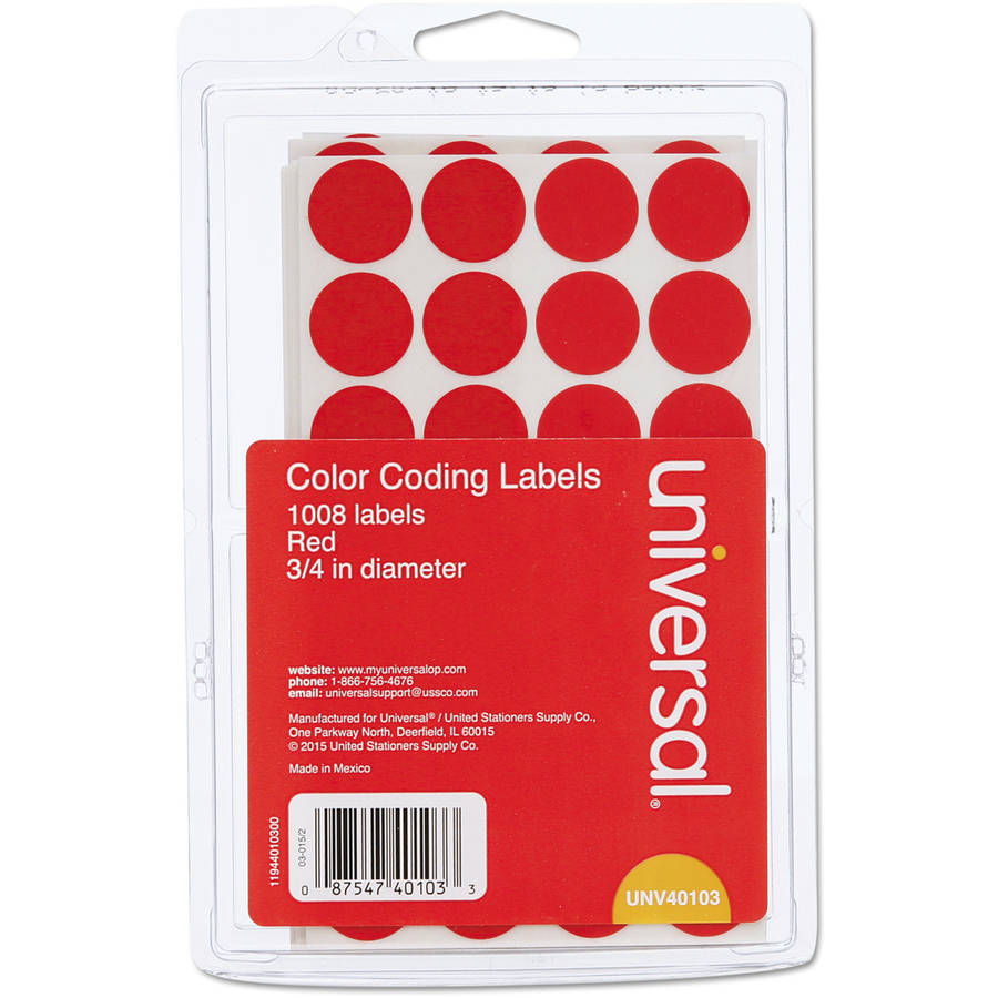 "Universal Permanent Self-Adhesive Color-Coding Labels, 3/4"" dia, Red, 1008-Pack"