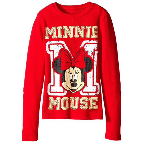 Minnie Mouse Varsity Girls' Long Sleeve Thermal with Elbow Patch