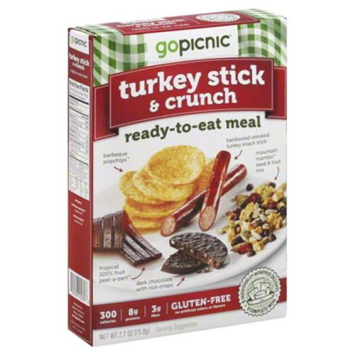 Go Picnic Meal Ready to Eat Gluten Free Turkey Stick Crunch, 2. 8 oz, - Pack of 6