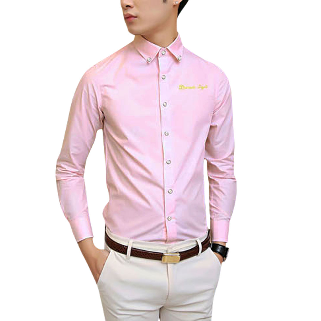 Azzuro Men's Button Cuffs Embroidery Letters Detail Casual Shirt Pink (Size M / 40��