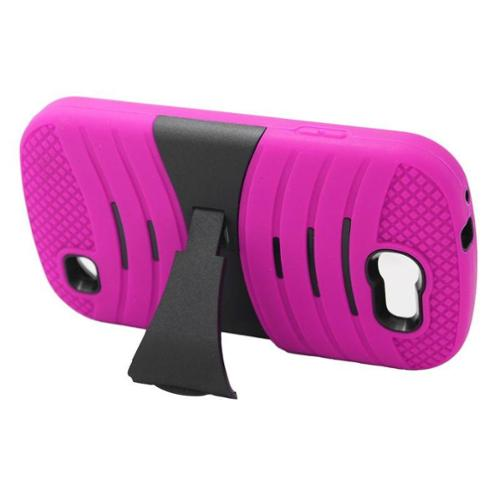 Insten Hybrid Rubber Hard Case with stand For Samsung Galaxy Express SGH-i437 - Hot Pink/Black