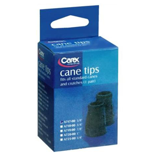 Carex Latex Free Polymer Cane Tips, Black Color, #A717-11 - 1 Pair