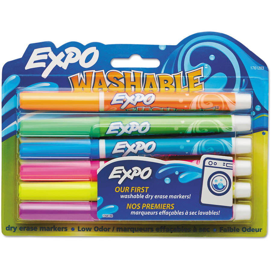 Expo Washable Dry Erase Markers, Assorted Colors, 6-Pack