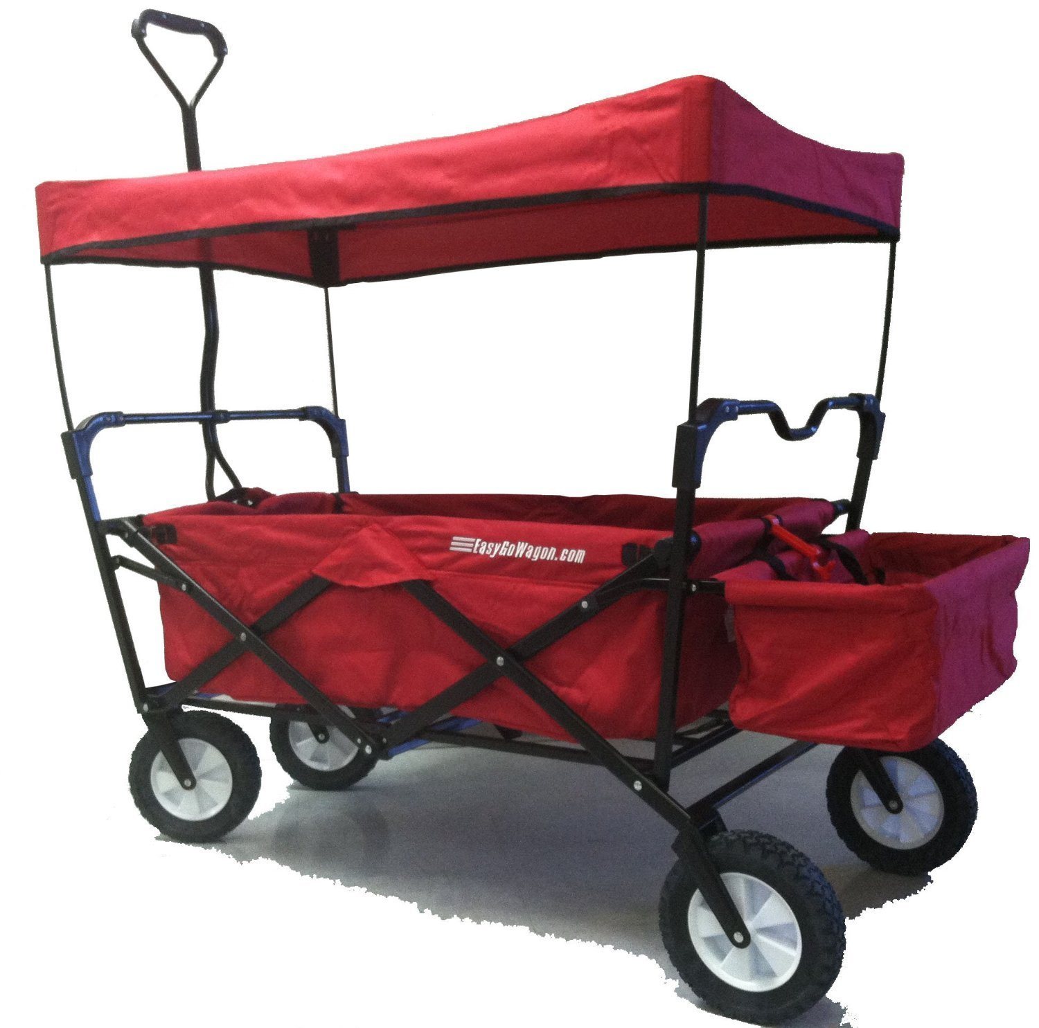 EasyGo Wagon Folding Collapsible Utility Wagon with Removable Canopy - Red